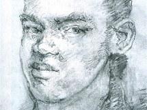 Kresba s podobiznou údajného atentátníka z moskevského letiště Domodědovo.