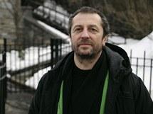 Karel Holas (Čechomor) v zasněženém newyorském Central Parku