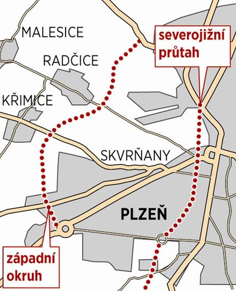 Mapa plánovaného silničního okruhu a průtahu Plzní