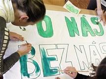 Demonstrace studentů v Pardubicích