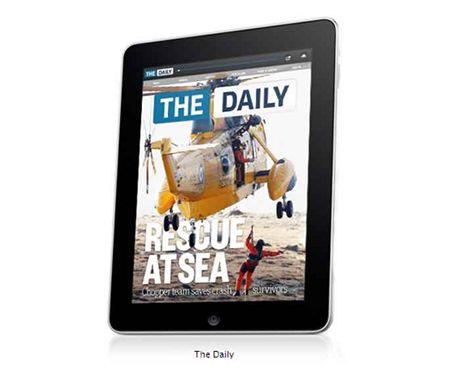 Titulní strana deníku The Daily. První noviny s předplatným pro iPad