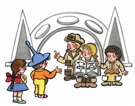 Ilustrace z knihy Neználek v Kamenném městě