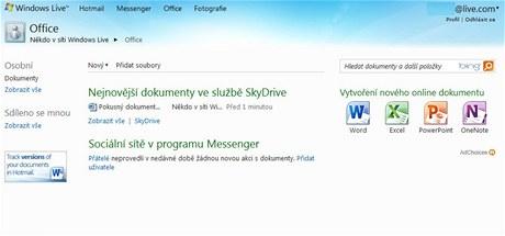 Úvodní stránka Office WebApps v rámci úložného prostoru SkyDrive 25 GB