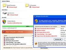 Ukázka malwaru, který sám sebe maskuje za antivirovou ochranu