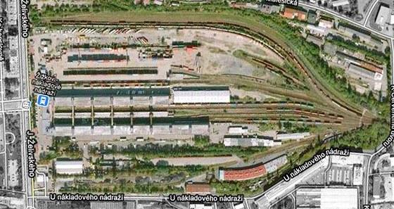 Současný letecký pohled na nákladové nádraží Žižkov