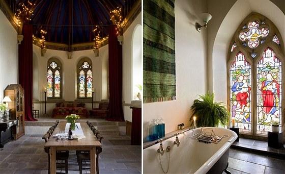 Okna zdobí původní vitráže od slavné firmy Clayton & Bell