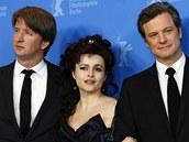 Berlinale 2011 - delegace k filmu Kings Speech (zleva) T. Hooper, H.B. Carterová a C. Firth