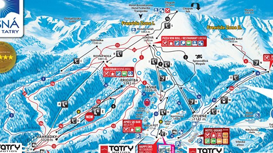 Chopok - plánek lyžařských tratí na severním straně