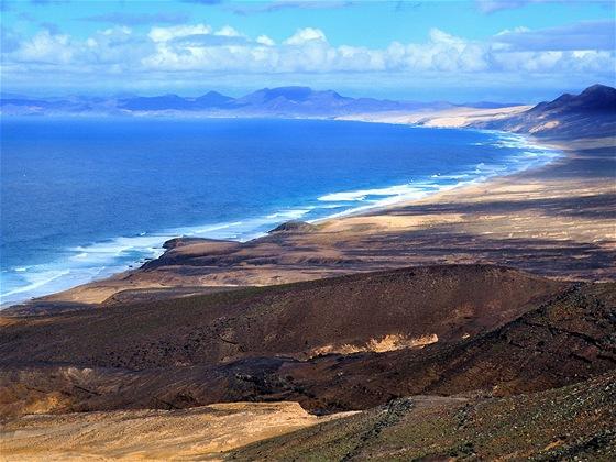 Playa de Cofete, pohled ze sedla silnice od Morro Jable
