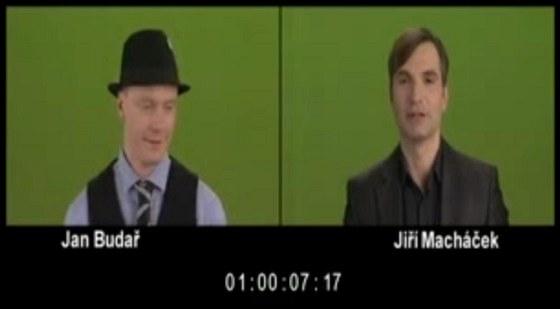Jan Budař a Jiří Macháček při natáčení reklamního spotu