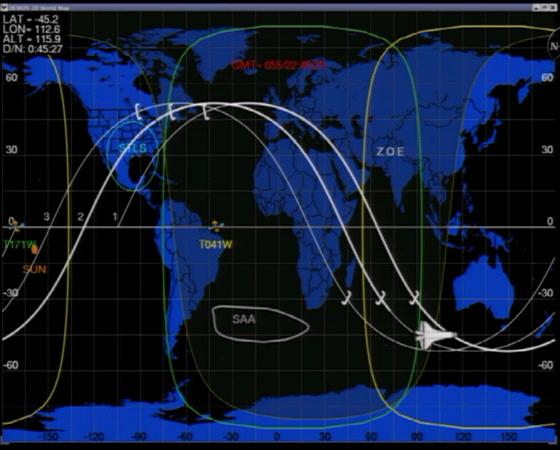 Poloha raketoplánu Discovery ve 23:50