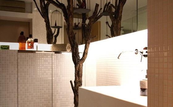 V koupelně designéři použili přírodní motivy, aby celý prostor odlehčili od poněkud strohých technologických prvků