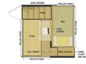 Plánek přízemí mobilního domku se studovnou a ložnicí