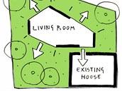 Plánek obývacího pokoje, rodinného domku a zahrady