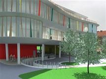 Vizualizace k pl�novan� stavb� knihovny.