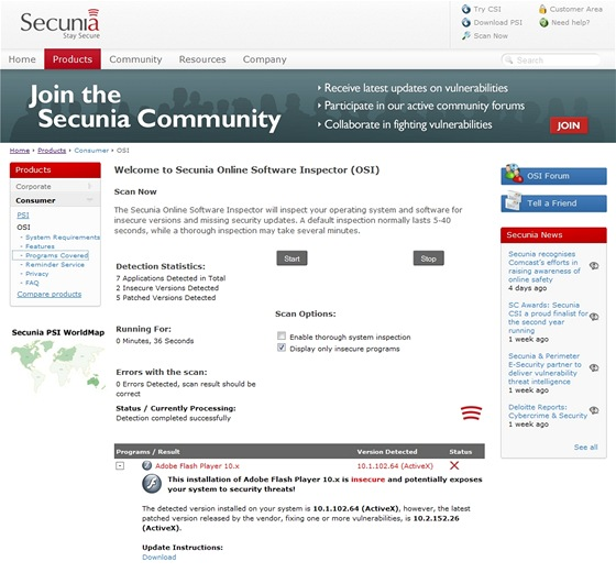 Secunia Online Software Inspector