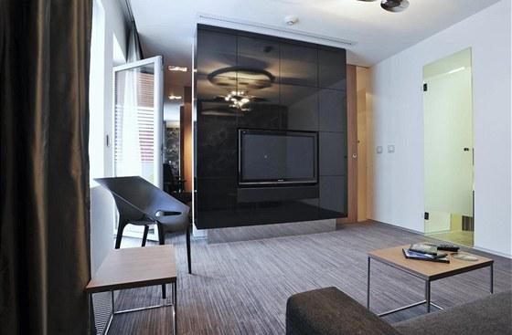 Panel uprostřed místnosti rozděluje byt na předsíň, hlavní obytný prostor a pracovnu. Jde o prostorovou uzavřenou knihovnu s vestavěným televizorem a reproduktory, které jsou součástí domácího kina.