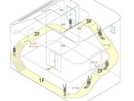 Plánek skluzavky a navazujícího schodiště.