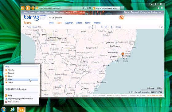 Příklad připnutého webu Bing