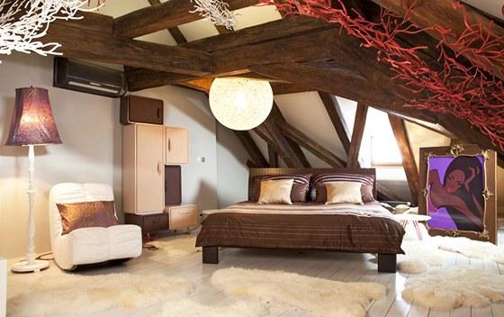 Ložnice podle zadání měla být v glamour stylu, proto jsou hlavními barvami hnědá v mnoha odstínech.