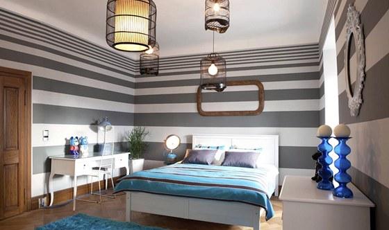 Ložnice pro hosty: nábytek převážně z Ikea je natřený. Koberec Shaggy je od výrobce Voivo.