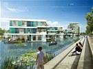 Vodní domy v Hamburku. Německé město kanálů se honosí titulem Evropská zelená metropole roku 2011. Jedním z tamních ekologických projektů jsou montované domy s inteligentními technologiemi, stavěné nad vodou.