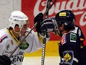 HOKEJOVÁ BITVA. Karlovarský útočník Melenovský se hokejkou zaklesl s libereckým Víškem.