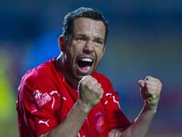 Kapitán Plzně Pavel Horváth se raduje z jediného gólu v zápase se Spartou.