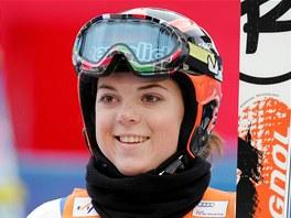 MÁM BODY! Kateřina Paulathová po obřím slalomu Světového poháru ve Špindlerově Mlýnu.
