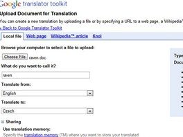 Google Translator Toolkit - nahrání souboru s překládaným textem