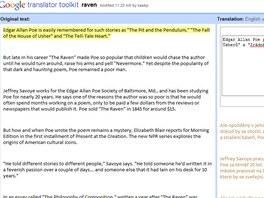 Větu po větě, možnost využít nabízený překlad
