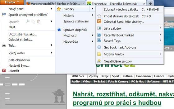Firefox 4 - menu, záložky