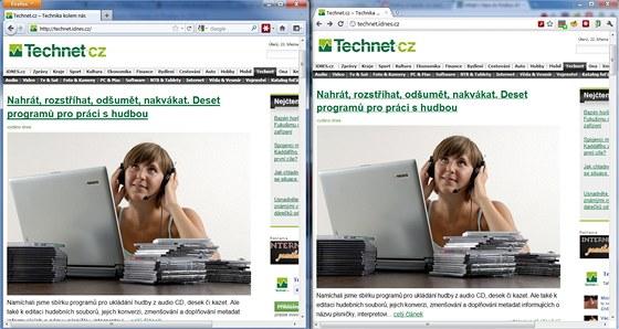 Firefox 4 vlevo a Chrome 10 vpravo - najděte pět rozdílů