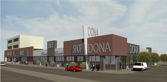 Vizualizace projektu multifunkčního obchodního centra, které má nahradit prostějovský obchodní dům Dona.