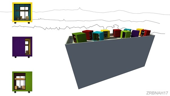 První místo. Na upravené střeše panelového domu je umístěno 10 barevných boxíků (7 obytných a 3 společné).