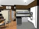 První varianta. Pohled do obývací kuchyně