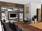 Druhá varianta. Pohled do obývací kuchyně