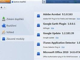 Firefox 4 - zásuvné moduly
