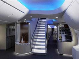 Interiér letadla Boeing 747-8 Intercontinental