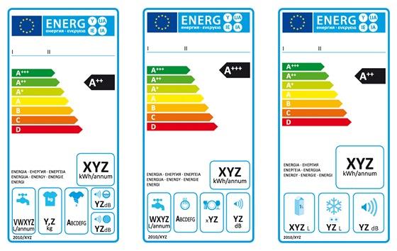 Nové energetické štítky spotřebičů: zleva pračky, myčky nádobí, chladničky a mrazničky
