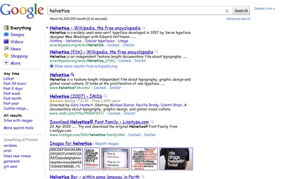 Google Helvetica - optimalizované písmo pro některé dotazy