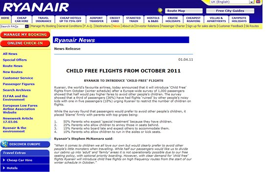 """Ryanair potěšil mnoho lidí oznámením, že od října zavede lety bez dětí na palubě. """"Když přijde na děti, všichni milujeme ty svoje, ale pochopitelně se vyhýbáme střetu se spratky ostatních spolucestujících,"""" uvedli v tiskové zprávě."""