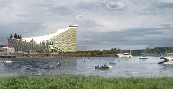 Zpovzdálí připomíná budova spalovny zelený kopec se zasněženým vrškem (vizualizace).