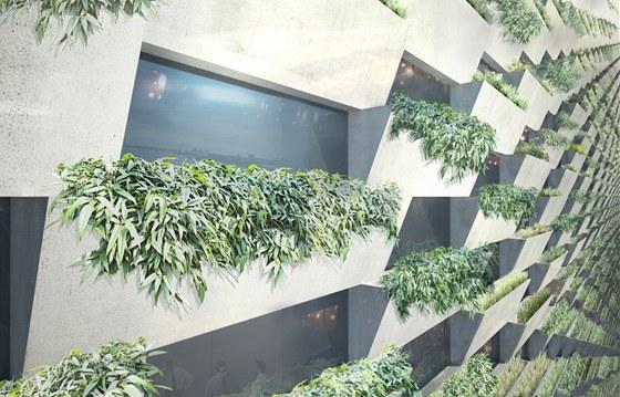 Fasáda je jako vertikální zahrada poskládaná z pospojovaných truhlíků. Vizualizace