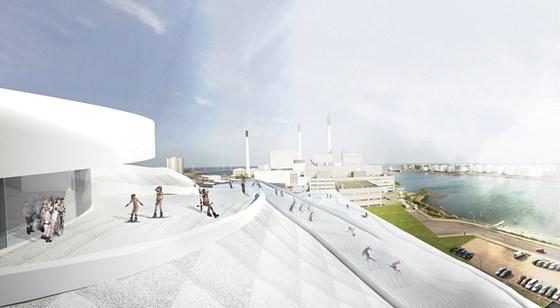Výstup na sjezdovku a panoramatická kavárna v téměř stometrové výšce u vyústění komína (vizualizace).
