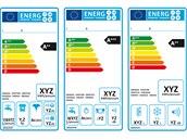 Současné energetické štítky (zleva: pračky, myčky a chladničky)
