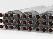 Ilustrace zachycuje 27 motorů Merlin prvního stupně Falconu 9 Heavy
