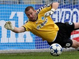 VYCHYTAL NULU. David Bičík, brankář Liberce, udržel v zápase s Olomoucí čisté konto.