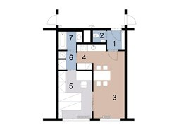 Současný stav: 1 – předsíň, 2 – WC, 3 – obývací pokoj, 4 – kuchyň, 5 – ložnice, 6 – šatna s pračkou, 7 – koupelna