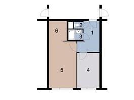 Původní stav: 1 – předsíň, 2 – WC, 3 – koupelna, 4 – ložnice, 5 – obývací, pokoj, 6 – kuchyň